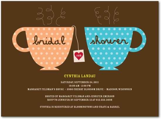 photo of Signature white bridal shower invitations, Charming Teacups