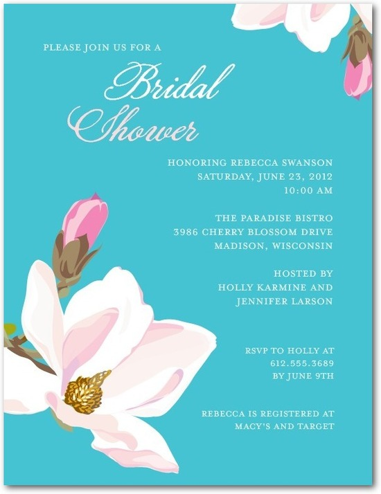 Signature white bridal shower invitations, Breezy Blooms