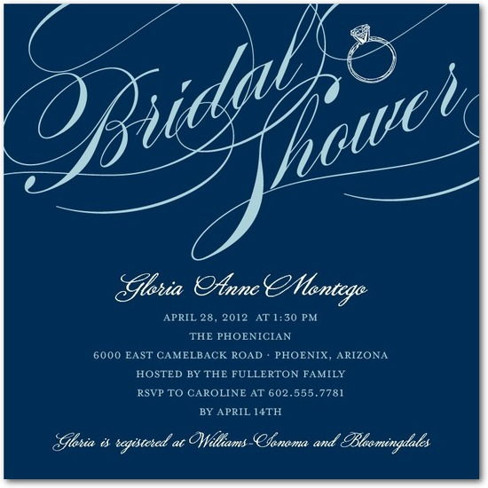 Signature white bridal shower invitations, Grandiose Type