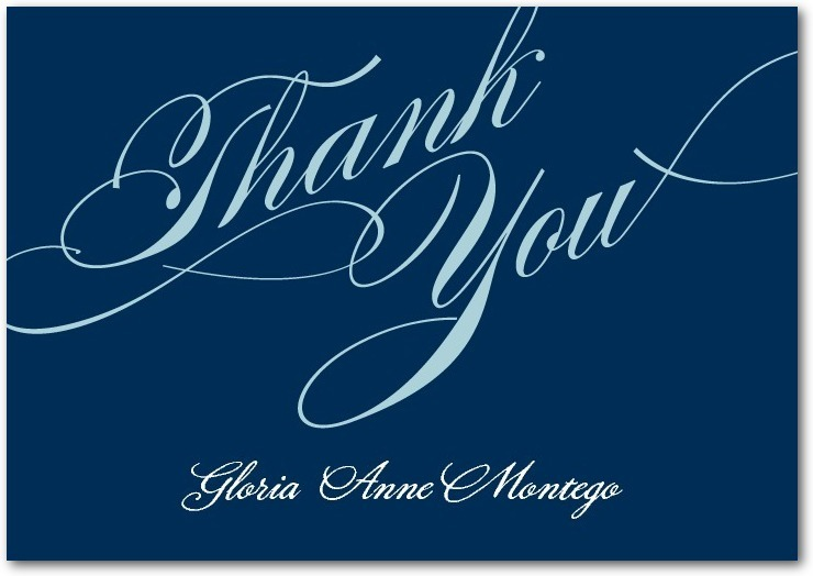 Signature white thank you cards, Grandiose Type