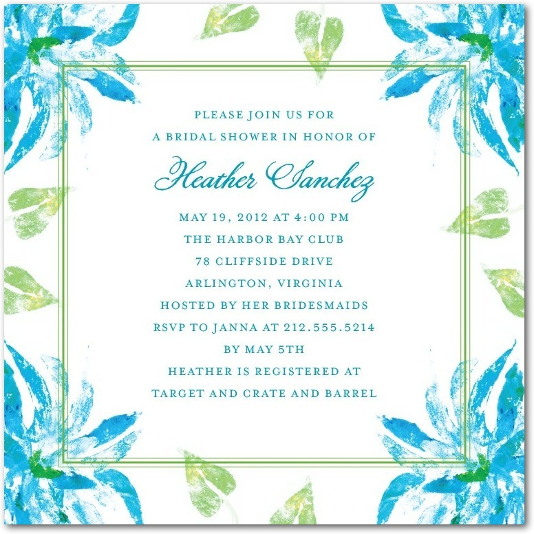 Signature white textured bridal shower invitations, Ethereal Watercolor