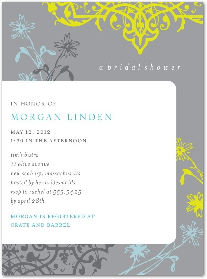 photo of Signature white bridal shower invitations, Damask Garden