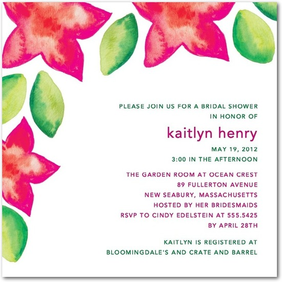 Signature white textured bridal shower invitations, Tropical Watercolors