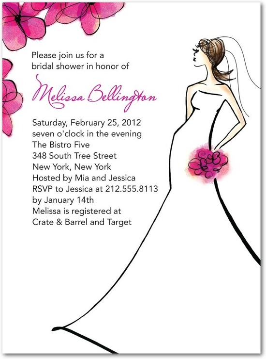 Signature white bridal shower invitations, Spring Bride