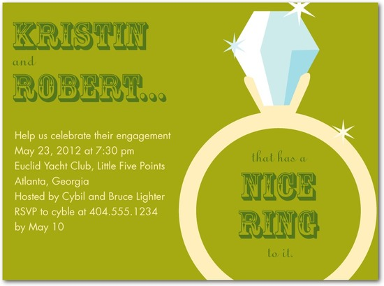 Signature white engagement party invitations, Nice Ring