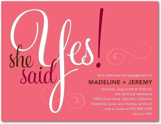 Signature white engagement party invitations, She Said Yes