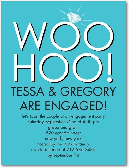 photo of Signature white engagement party invitations, Sparkling Cheer