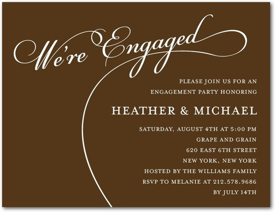 Signature white engagement party invitations, Tasteful Type
