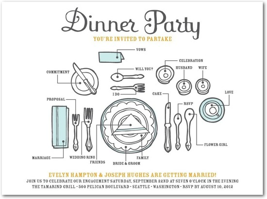 photo of Signature white textured engagement party invitations, Dinner Party Diagram