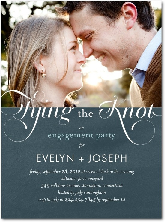 photo of Signature white photo engagement party invitations, Royal Engagement