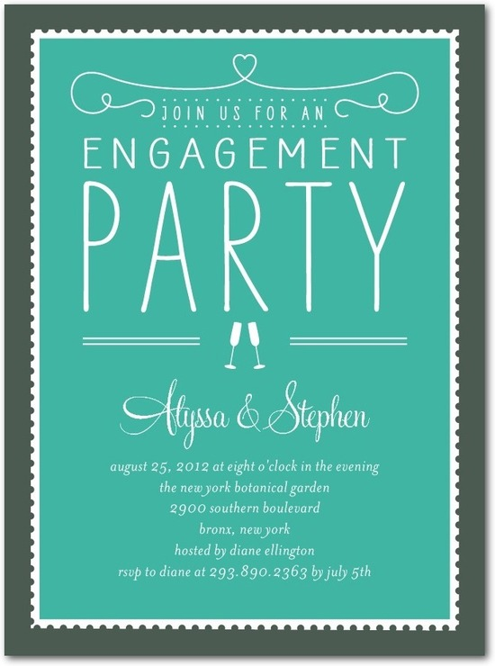 photo of Signature white engagement party invitations, Stamp On Over