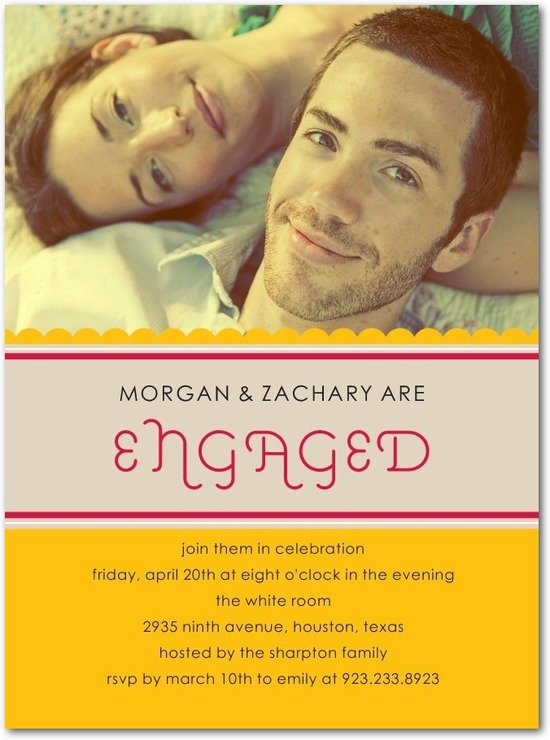 Signature white photo engagement party invitations, Eclectic Type