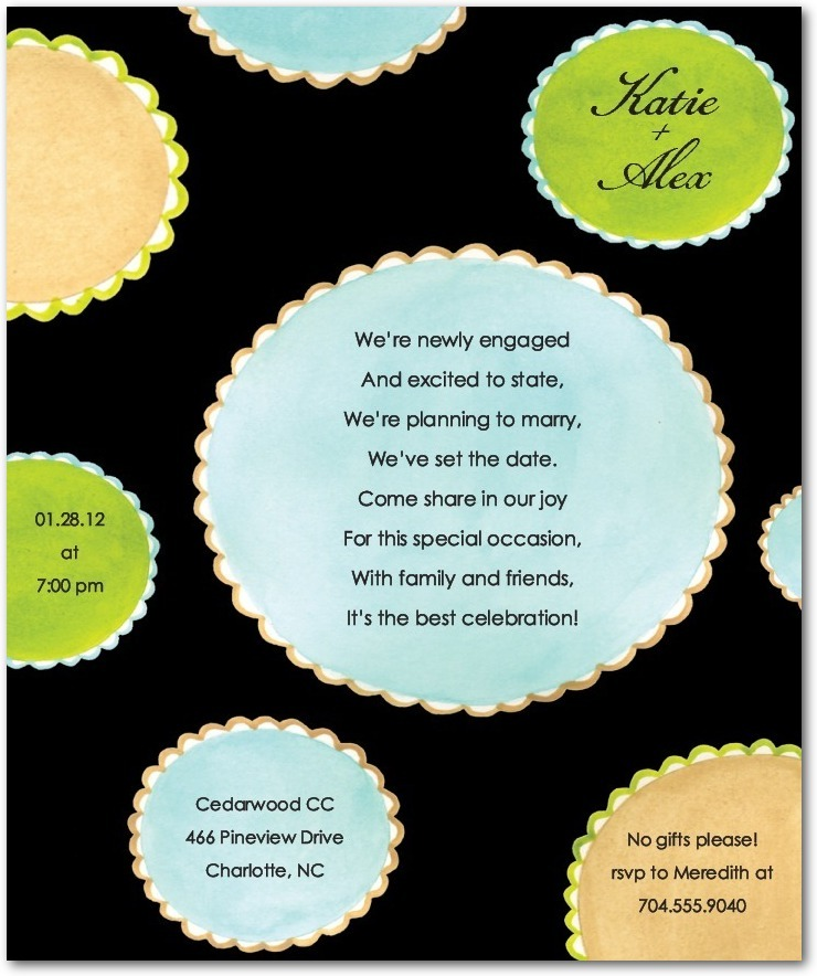 Studio basics: engagement party invitations, Scalloped Dots