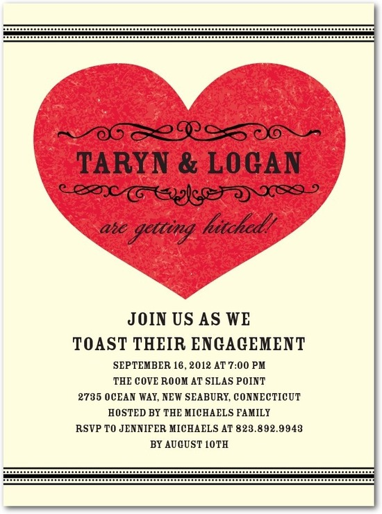 photo of Signature ecru engagement party invitations, Saloon Poster