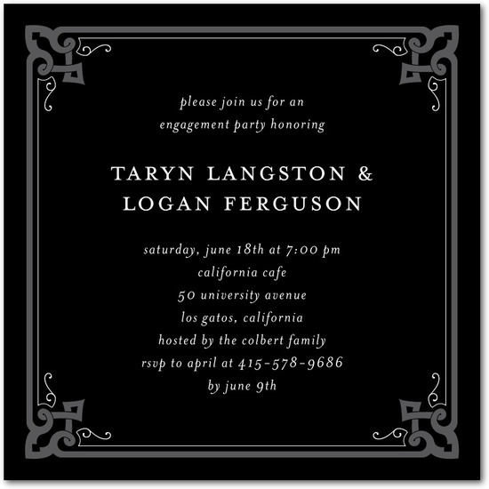 Signature white engagement party invitations, Embellished Edges