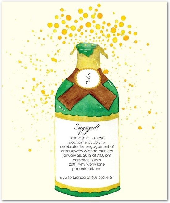 Studio basics: engagement party invitations, Champagne Spray