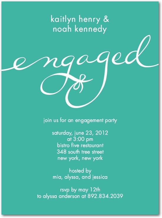 Signature white engagement party invitations, Perfect Knot