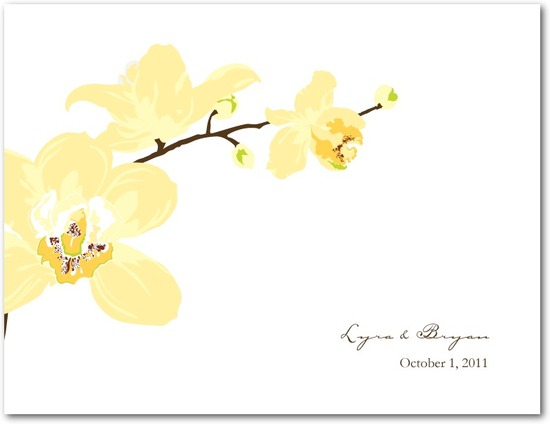 Wedding response postcards, Artistic Orchids
