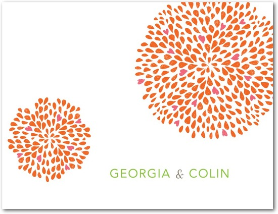 Wedding response postcards, Petal Clusters