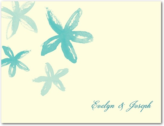 Wedding response postcards, Beach Flowers