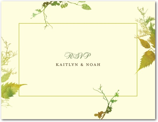 Wedding response postcards, Rustic Print
