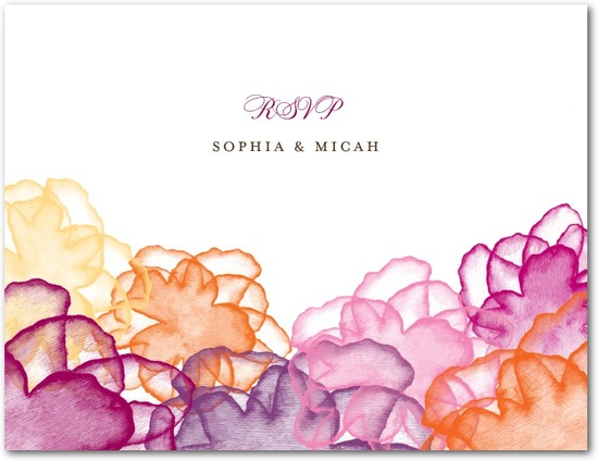 Wedding response postcards, Floral Watercolor