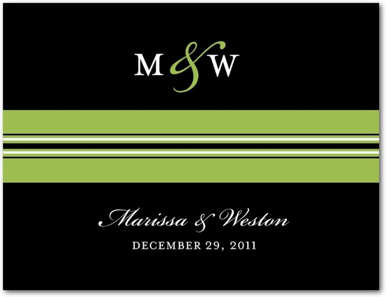 Wedding response postcards, Monogram Stripe