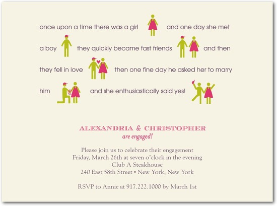 Signature white engagement party invitations, Boy Meets Girl