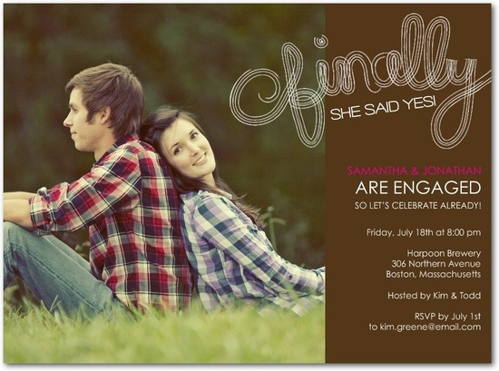 Signature white photo engagement party invitations, Finally Said Yes