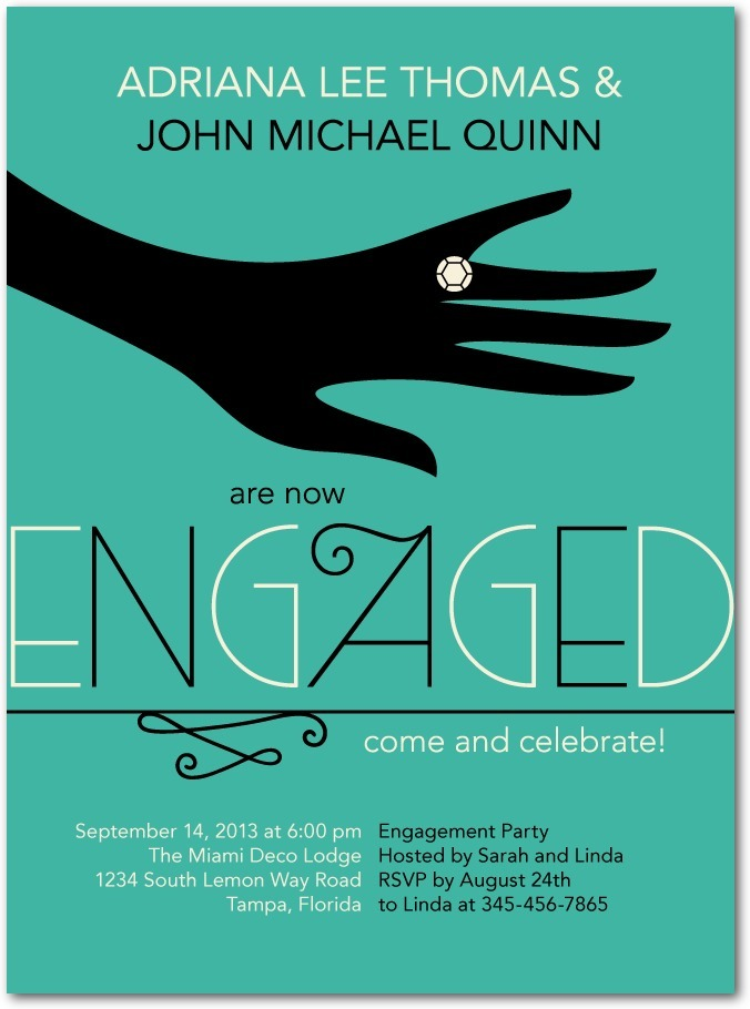 Signature white engagement party invitations, Society Soiree