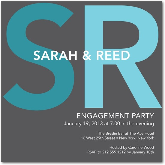 Signature white engagement party invitations, Bold Initials