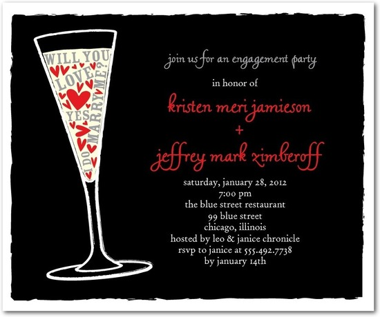 photo of Studio basics: engagement party invitations, Champagne Love