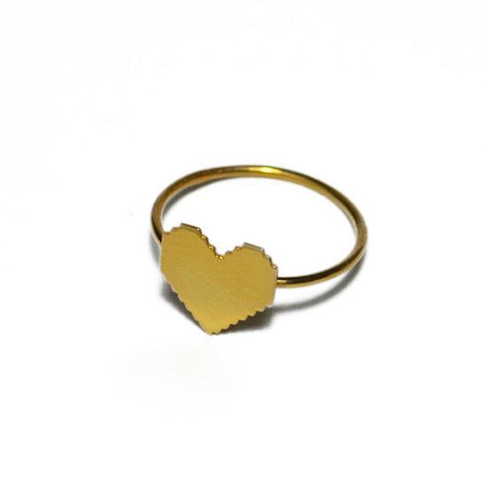 photo of Mini pixel heart ring via Etsy seller VirginieMilleFiori