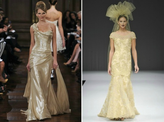 Metallic Gold Wedding Dresses 2012 Bridal Trends