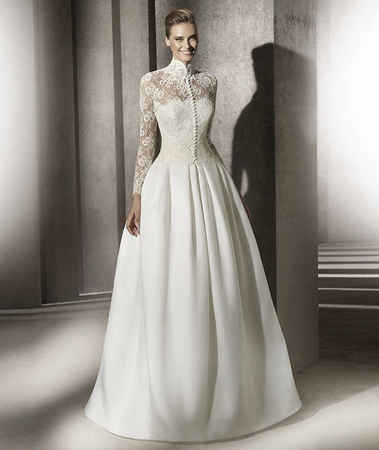 Modest Pronovias Wedding Dress Lace Sleeves