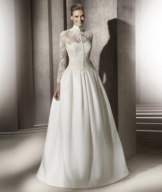 Modest pronovias wedding dress lace sleeves for Lace modest wedding dresses