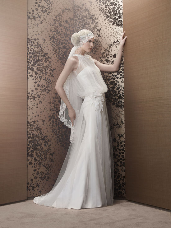 Romantic 2013 Wedding Dress Sheer halter