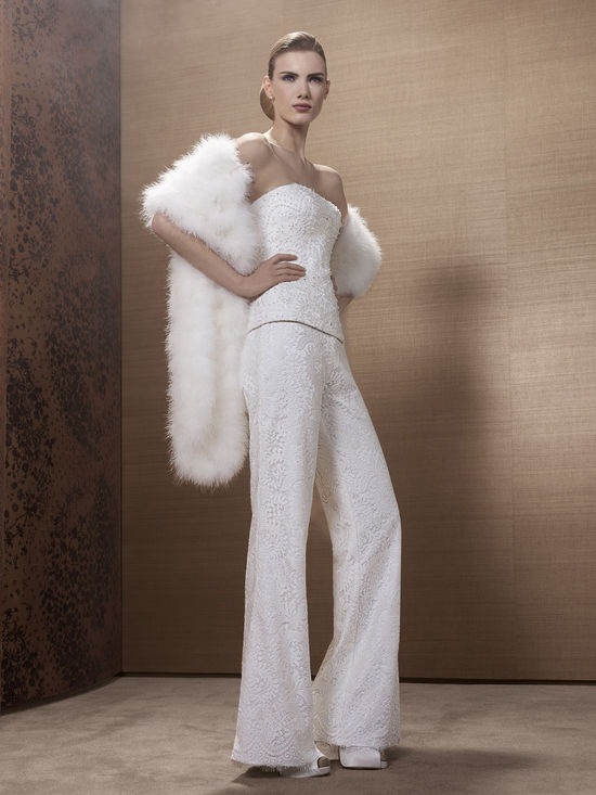 2013 Wedding Dress by French Bridal Designer Elisabeth Barboza embellished pants suit