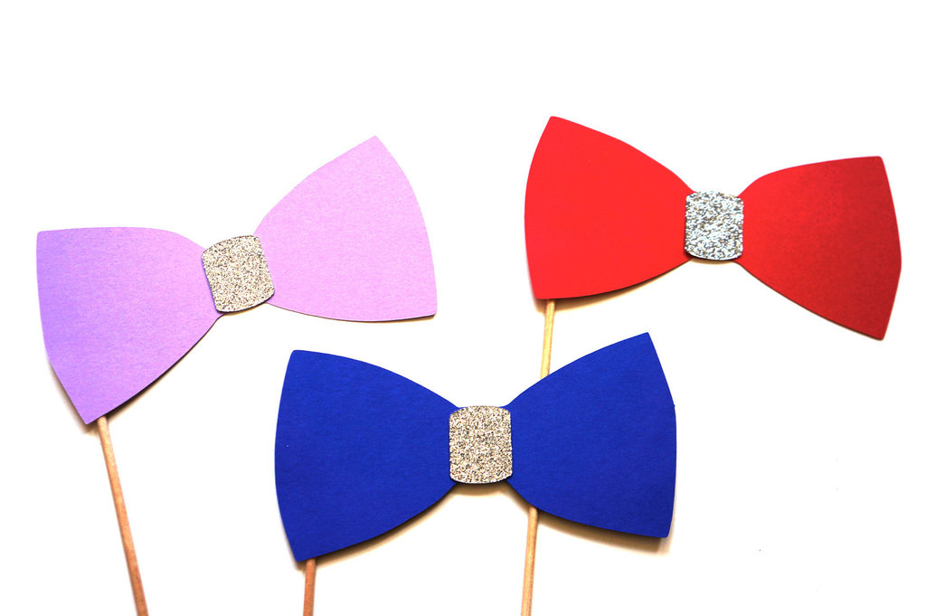 Glitter Bow Ties on a Stick for Photobooth