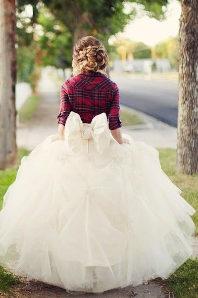 Plaid Top Wedding Dress