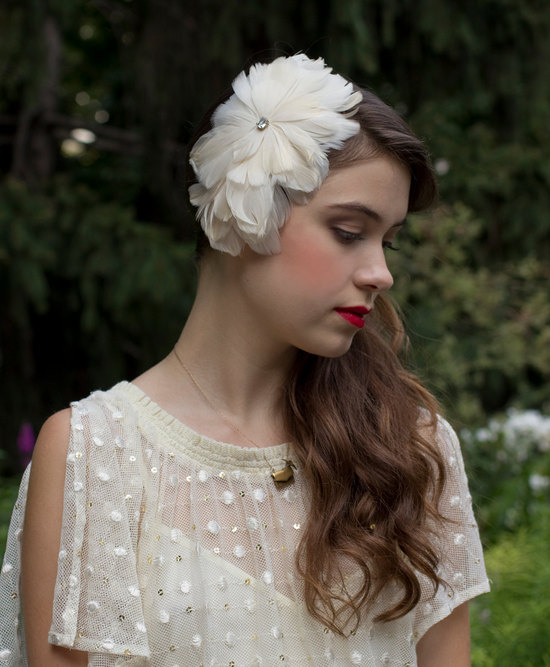 Cream Feather Fascinator for Elegant Brides