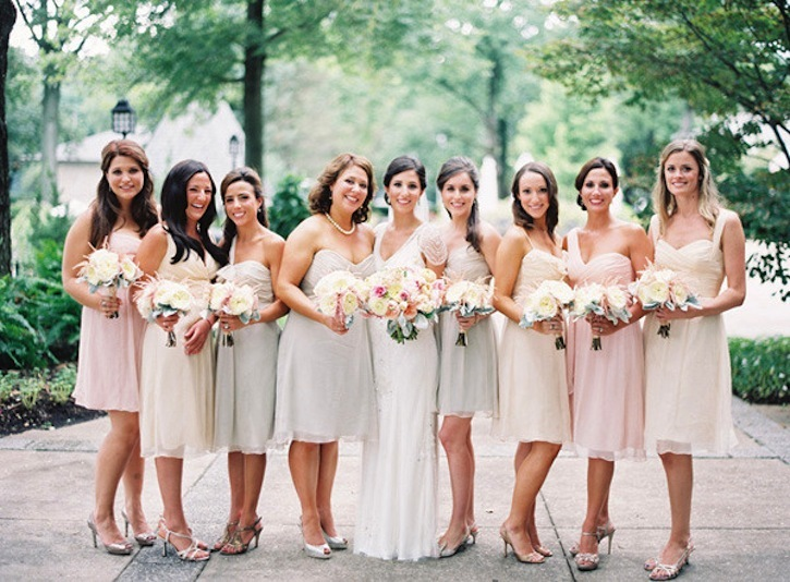 Neutral wedding colors elegant timeless style peep toe for Neutral dresses for weddings