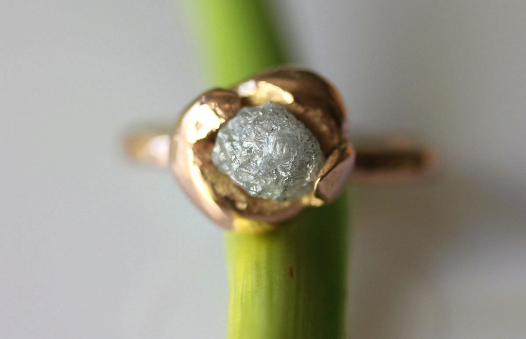 Unique Engagement Ring Recycled Gold Rough Diamond
