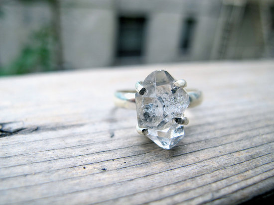 Stunning Herkimer Diamond Engagement Ring