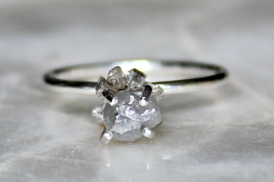 Unique Rough Diamond Engagement Ring