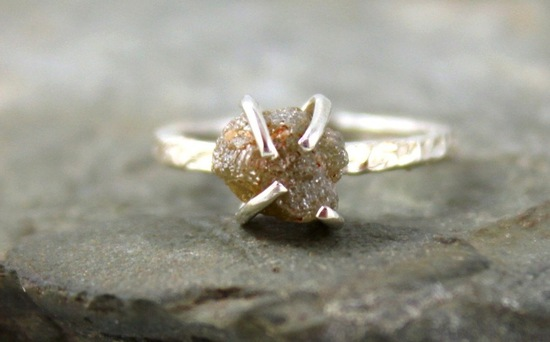 3 carat engagement ring rough diamond