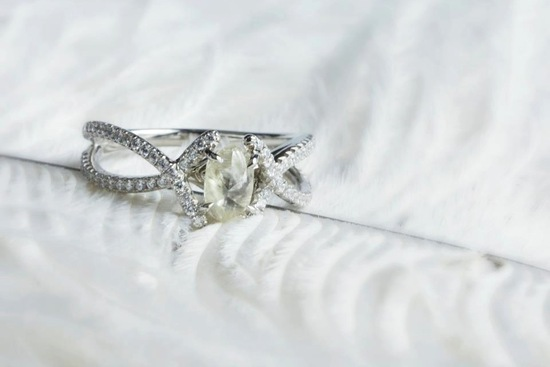 Rough Diamond Engagement Ring with Pave Diamonds Settin
