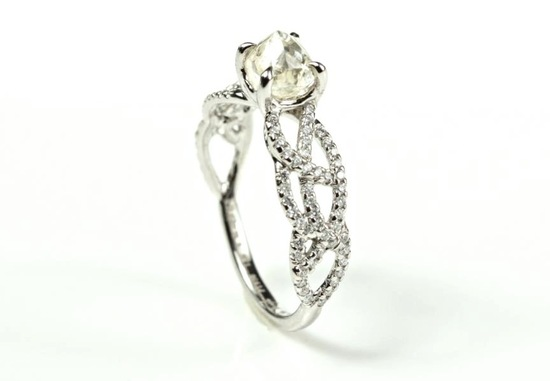 Rough Cut Diamond Engagement Ring with Pave Diamond Band