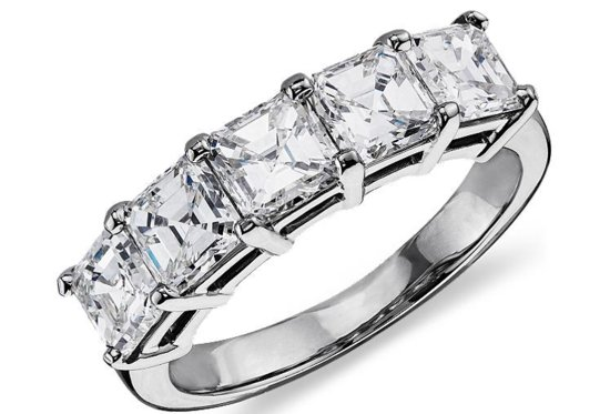 Blue Nile Engagement Rings Asscher Five Stone