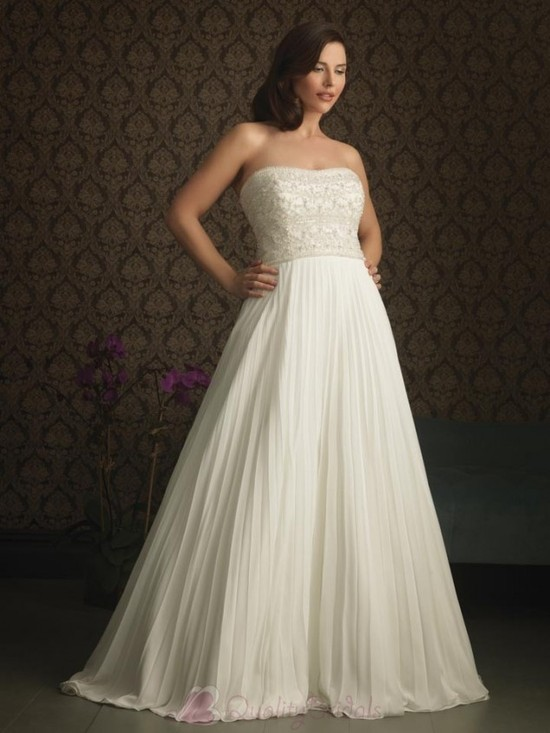 Ivory-Chiffon-Strapless-Fully-Beaded-Bodice-A-line-Silhouette-Plus-Size-Wedding-Dress-W1317